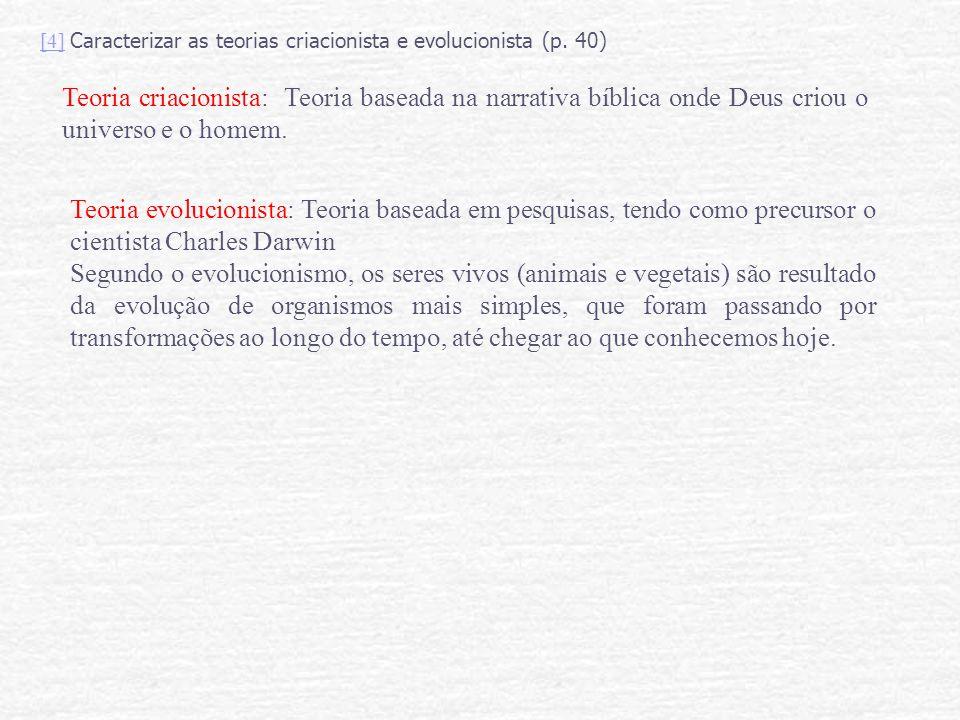 [4] Caracterizar as teorias criacionista e evolucionista (p. 40)